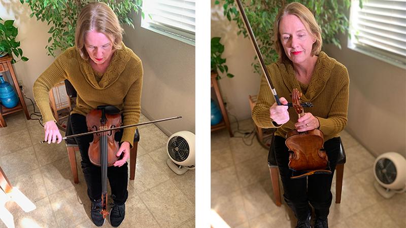 tune violin on lap