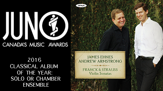 James Ehnes Wins 2016 Juno Award for Franck and Strauss Sonatas Album