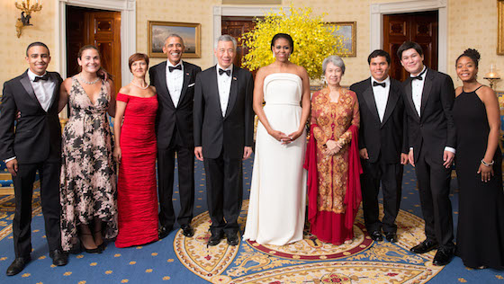Obamas, Singapore Prime Minister, with Project STEP musicians