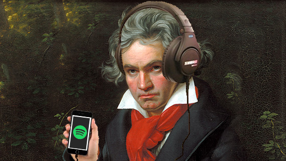 Beethoven listens to Spotify