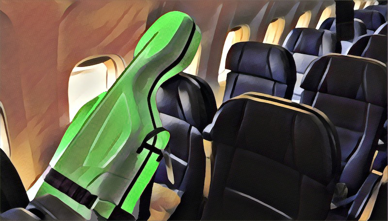 cello on plane