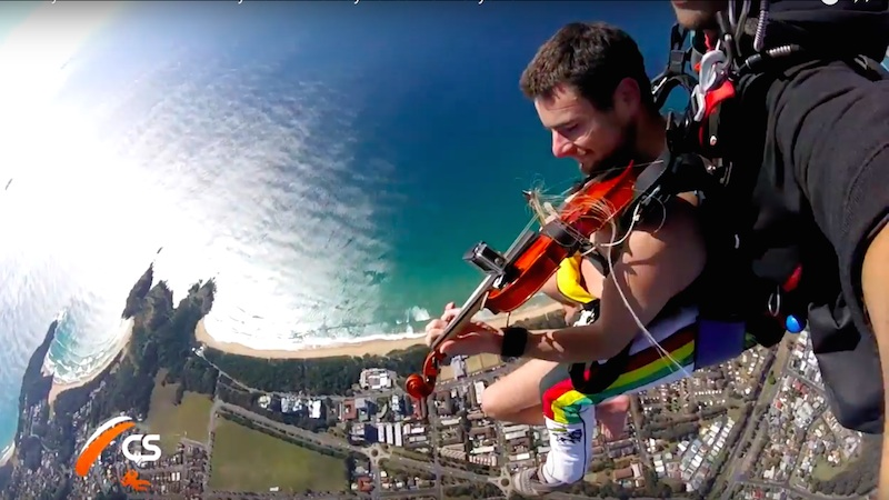 V.com weekend vote: What would be the scariest part of skydiving naked, playing a violin?