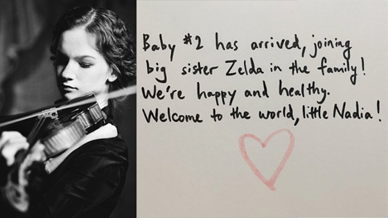 Hilary Hahn Announces Birth of Second Child, Nadia