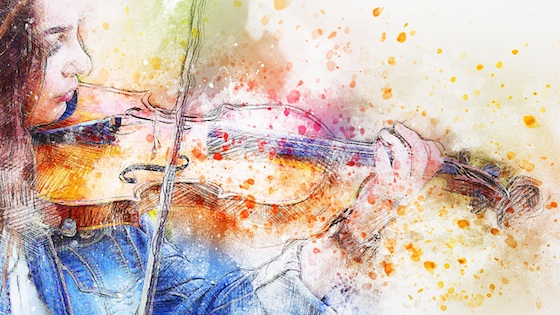 watercolor girl violin