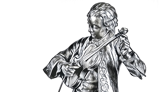 Mozart tuning his violin