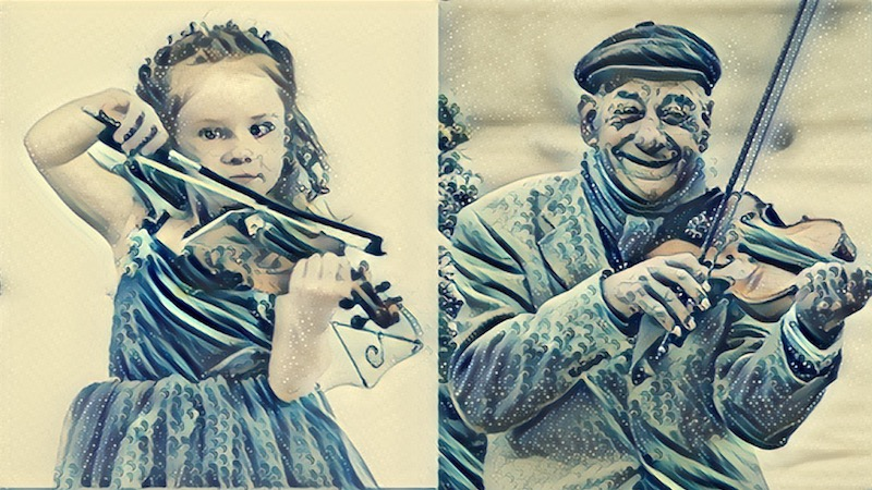 child and adult violinist
