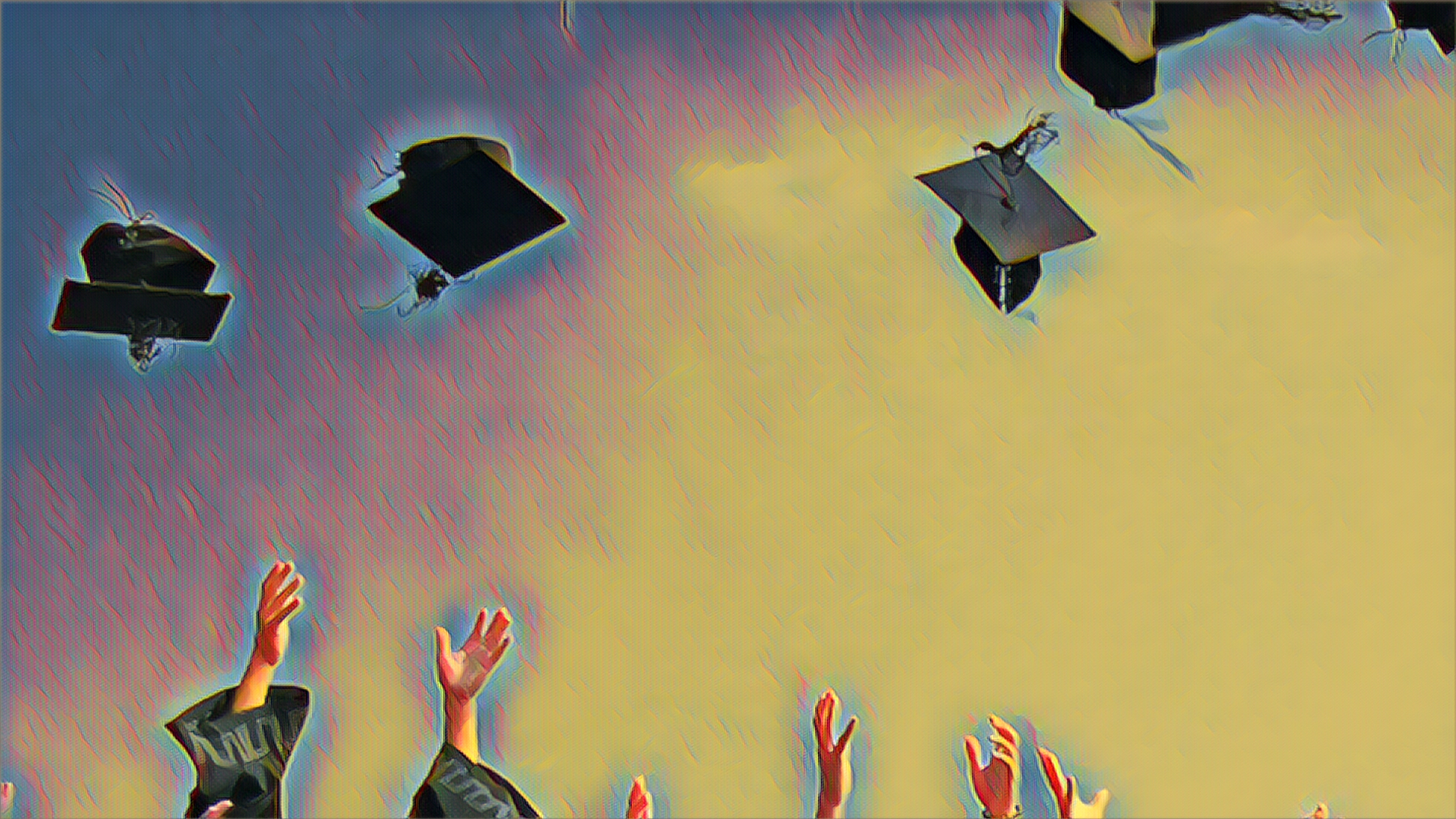 up in the air graduation hats