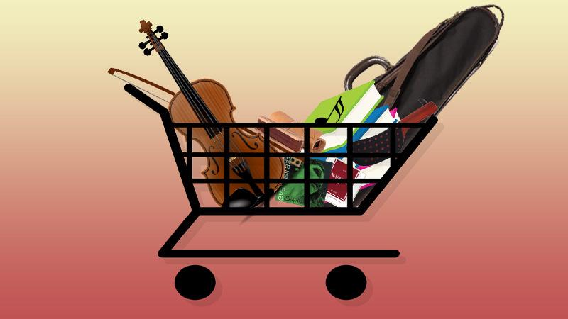 violin shopping cart
