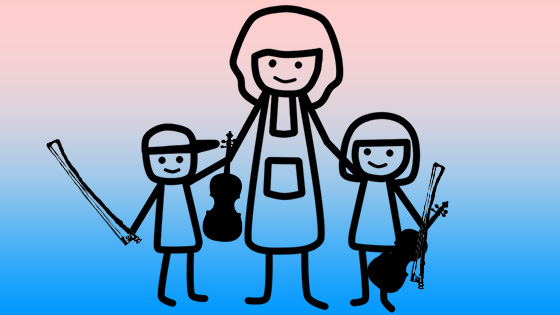 Mom and kids with violins