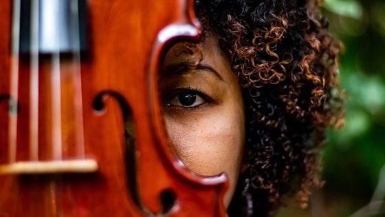 peeking from behind violin