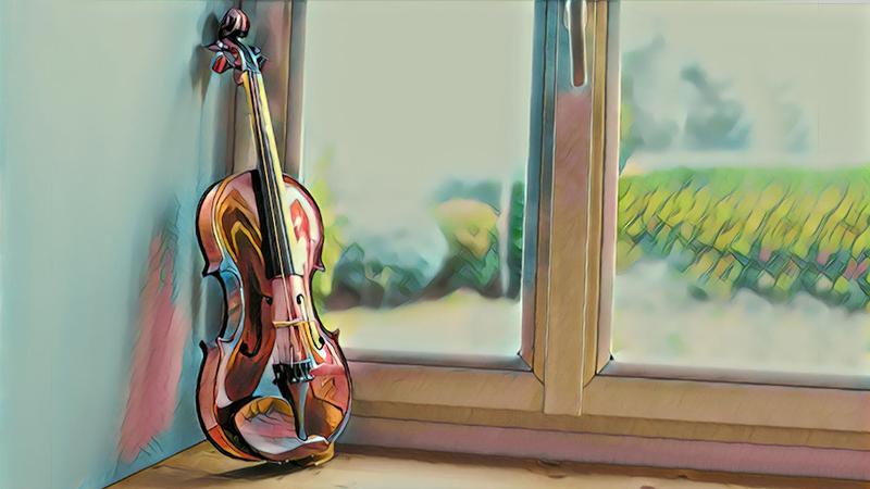 summer violin by window