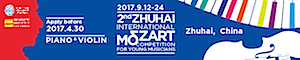 Zhuhai International Mozart Competition - Apply by April 30, 2017