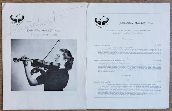 1954 Musica Viva Recital Martzy