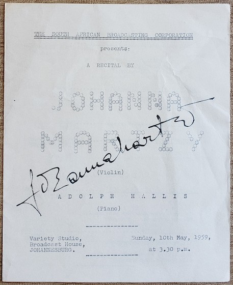 1959 Martzy SABC Recital Program