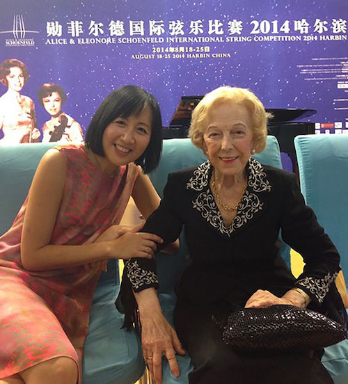 Violinists Linda Wang and Alice Schoenfeld