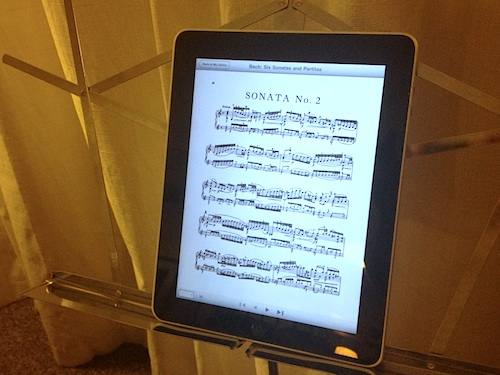 Sheet music on an iPad