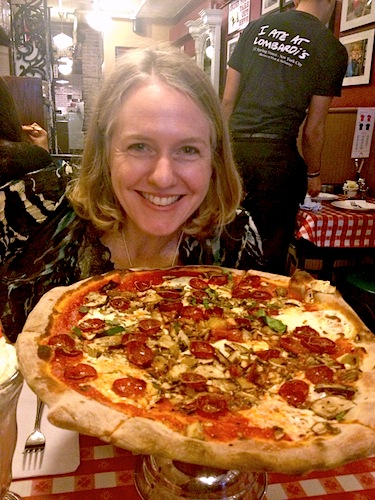 Laurie with pizza